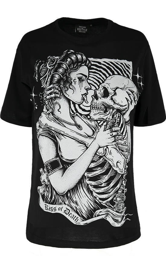 Black oversized t-shirt KISS OF DEATH