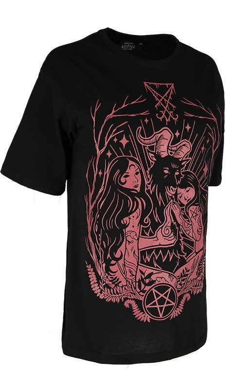 Black oversized t-shirt LUCIFER BURGUNDY
