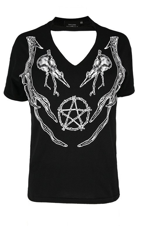 Black pagan tshirt with choker Antlers Top