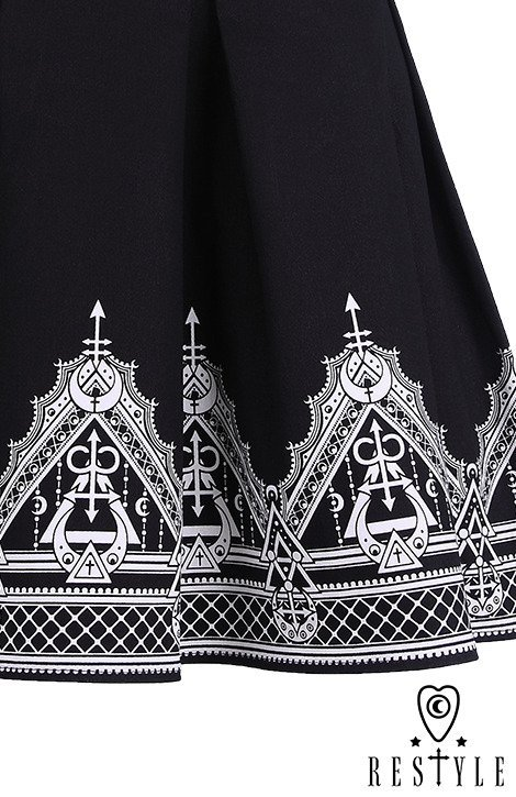"Black pleated short skirt with henna print, moon, symbols ""HENNA SKIRT"""