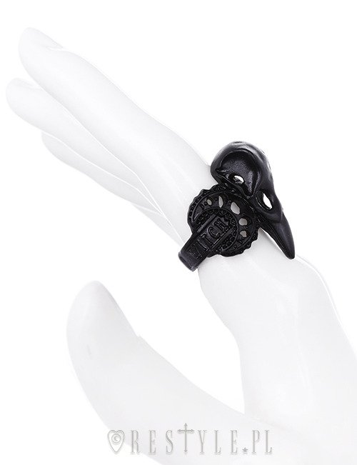 "Black ring, bird skull, raven, crescent, occult jewellery ""WITCH CROW BLACK"""