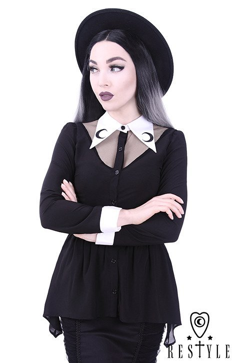 "Black shirt with basquine, White, long collar with crescent embroidery ""LUNA SHIRT"""