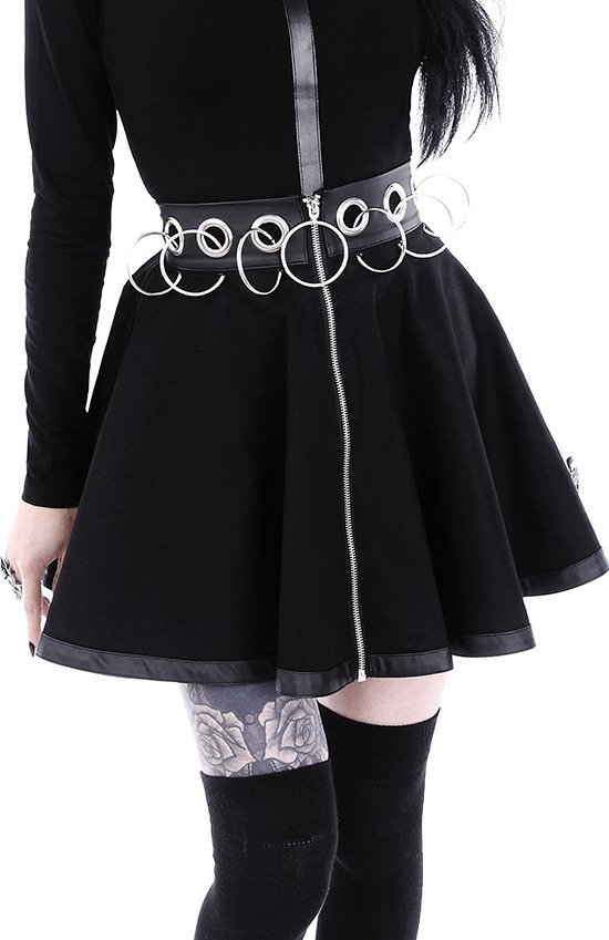"Black short skirt with rings ""REBEL GAL SKIRT"""