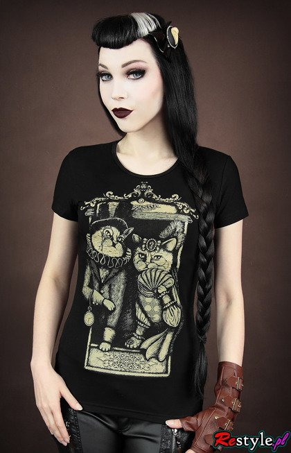 Black t-shirt Victorian Cat Couple short sleeves
