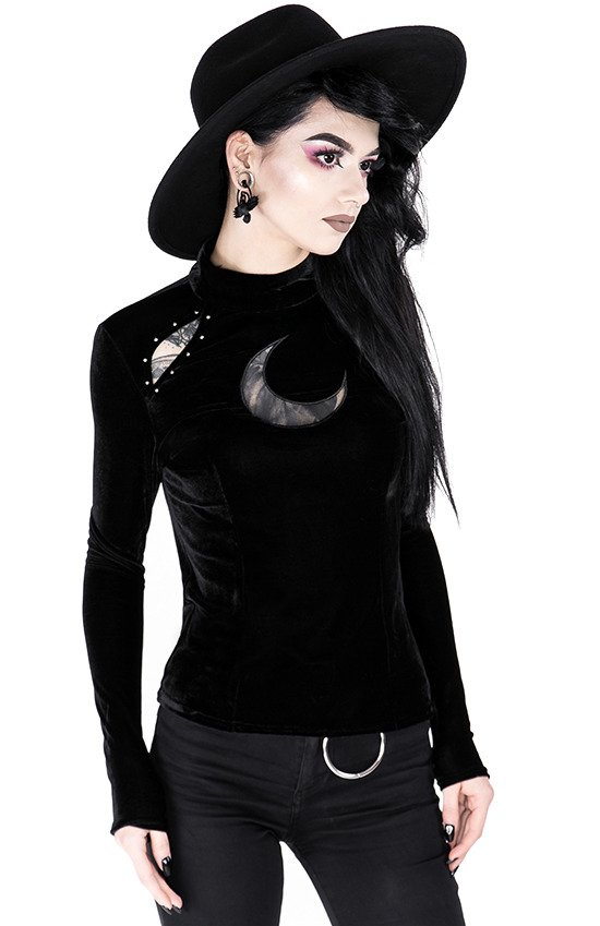 Black velvet blouse with crescent OVER THE MOON BLOUSE
