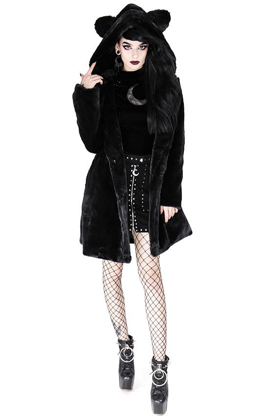 Black warm winter CAT FAUX FUR COAT