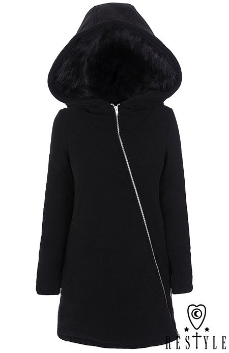 "Black winter jacket with pockets, Huge hood ""POST APOCALYPTIC COAT"""