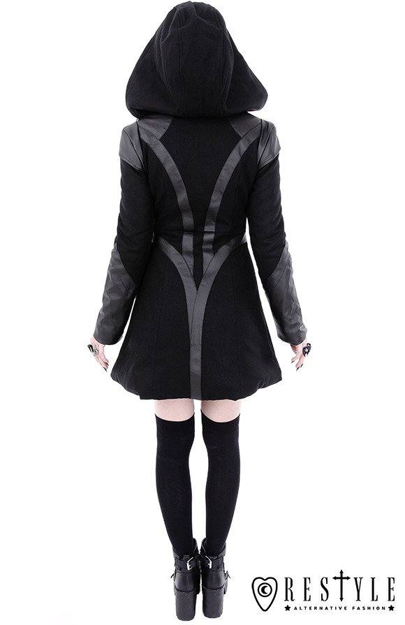 "Black winter jacket with pockets, detachable hood ""FUTURE GOTH COAT"""