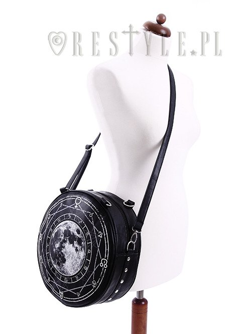 "Black, witchy purse, full moon print, moon bag ""LUNA ROUND BAG"""