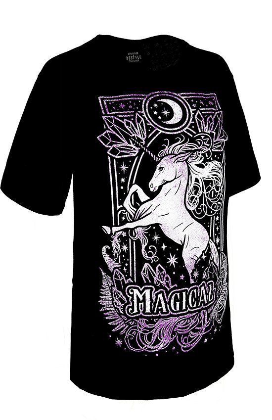 Black woman oversize t-shirt MAGICAL UNICORN OVERSIZED