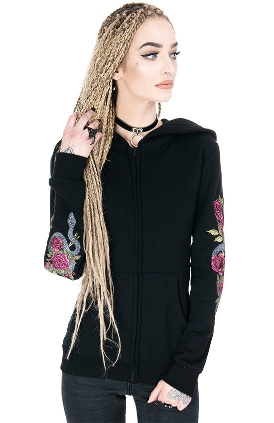 Black women`s Hoodie TEMPTATION Snake and Roses Embroidery
