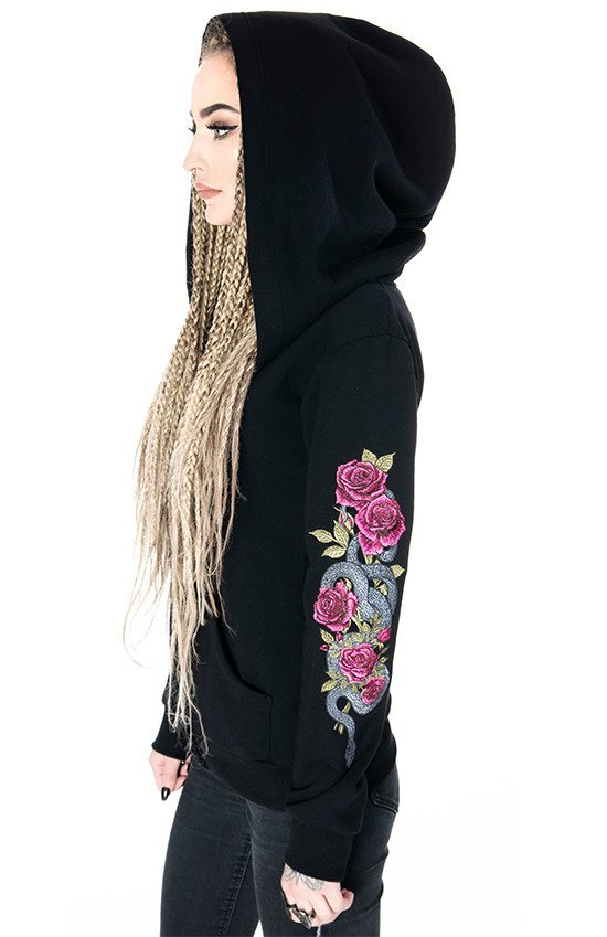 0cf88128f Black women`s Hoodie TEMPTATION Snake and Roses Embroidery | CLOTHES ...