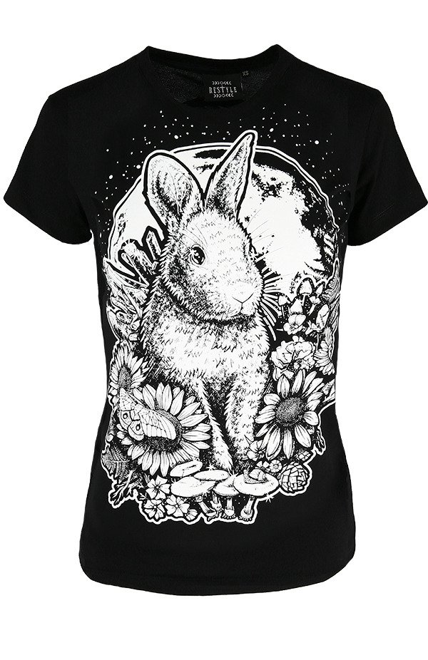 Black women`s T-shirt Moon Bunny