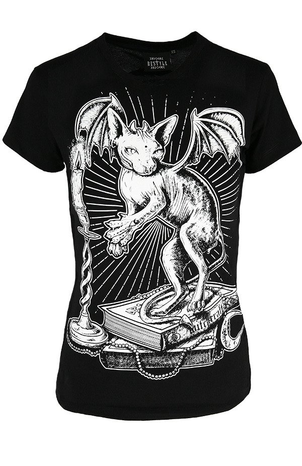 Black women`s T-shirt Ominous Cat