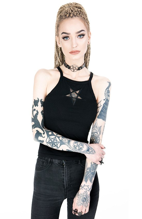 Black women`s Top Mesh Pentagram