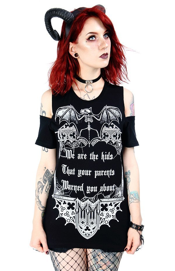 Black women`s gothic T-shirt cold shoulder We are the kids