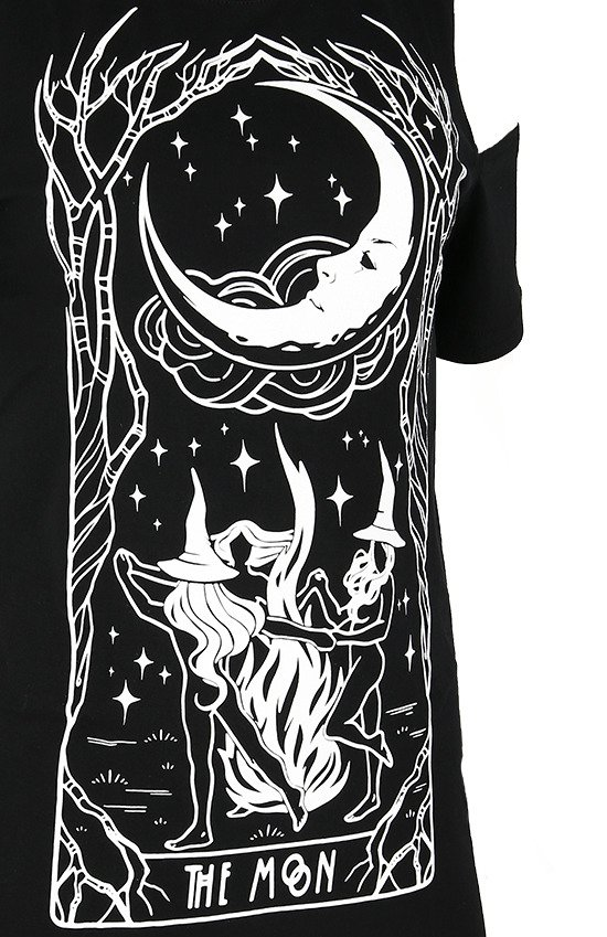 Black women`s t-shirt cold shoulder WITCHES CHANT