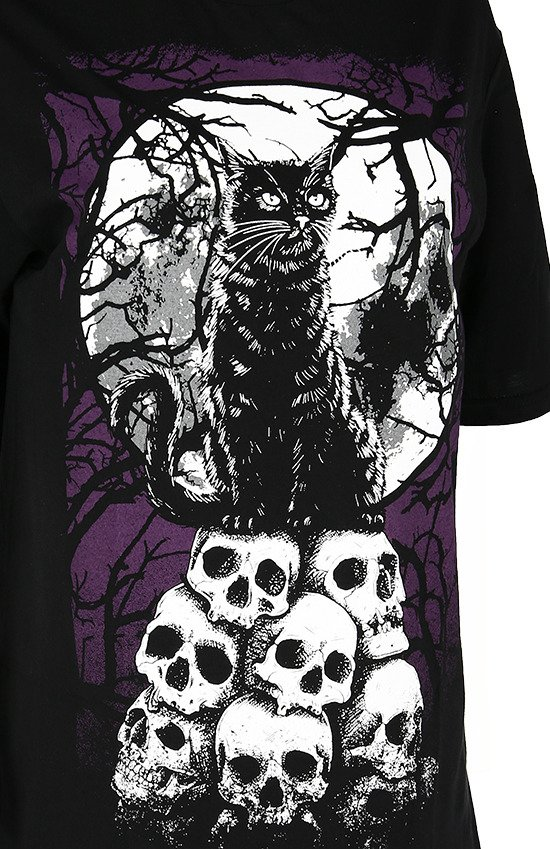 Black women`s t-shirt with magic cat MORBID CAT
