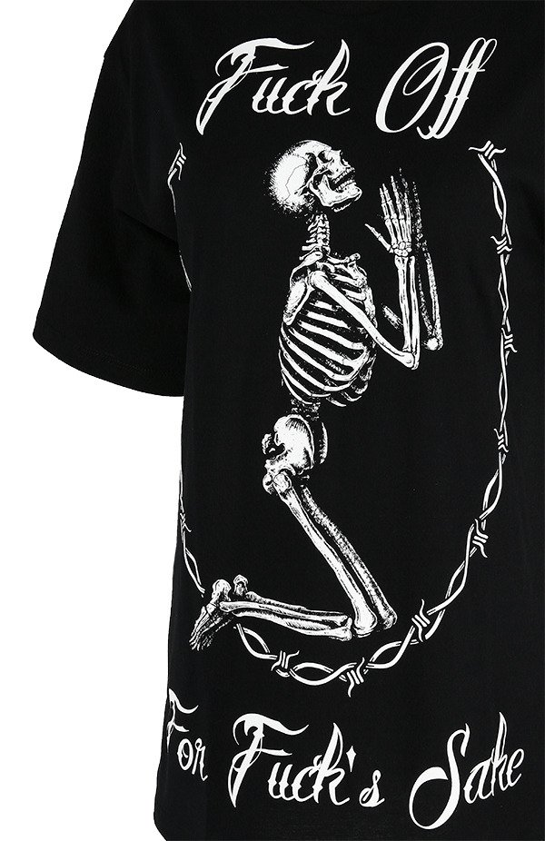 Black women`s t-shirt with skeleton Oversized Top Fuck off for Fuck''s sake