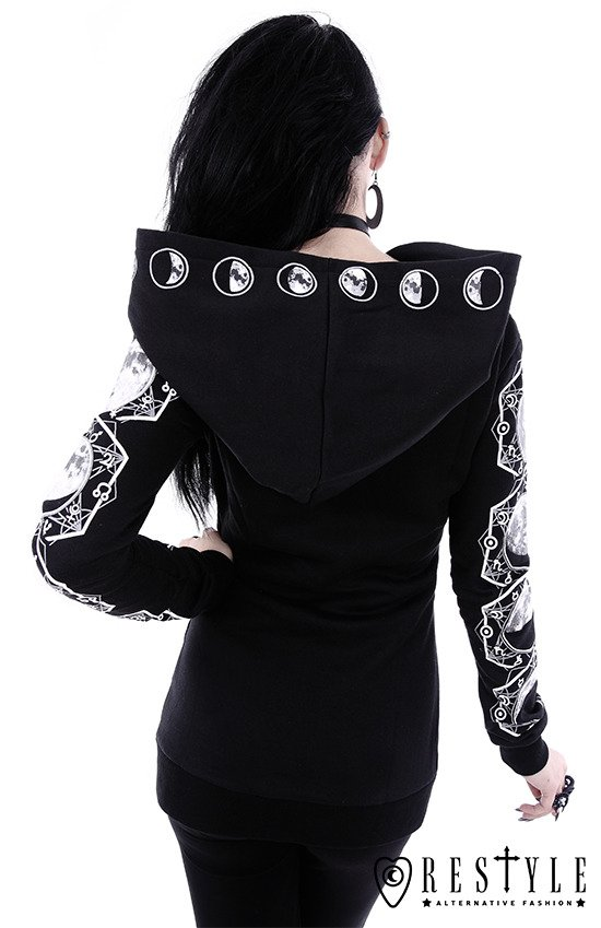 "Blouse with oversized hood and moon phases ""LUNAR HOODIE"""