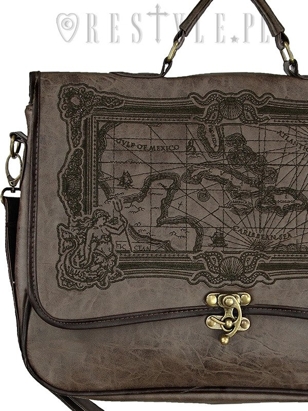 "Briefcase ""MAP BROWN"" gothic satchel bag A4 MAP of Caribbean sea"