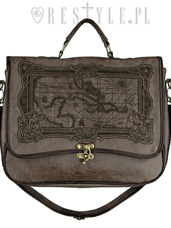 "Briefcase gothic satchel bag A4 MAP of Caribbean sea ""MAP BROWN"""