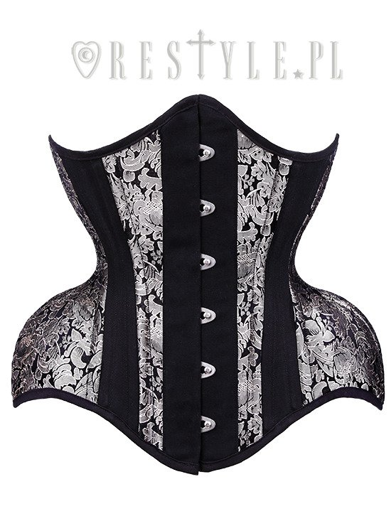 "Brocade dramatic curved corset wide hips ""WH5 White Gold Underbust"""