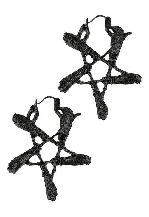 Broom Pentagram Black Earrings Witchy jewellery