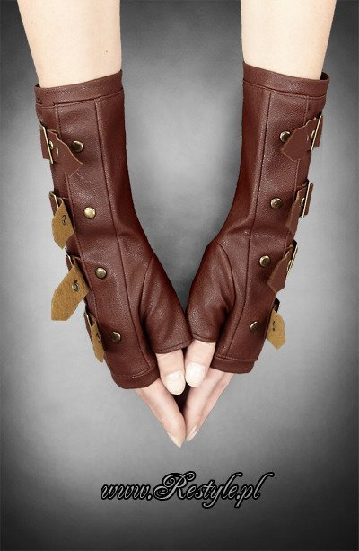 Brown steampunk arm warmers with buckles