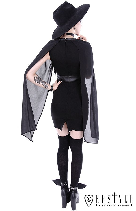 """CAPE DRESS"" Pencil gothic dress, leather straps, o-rings, long sleeves"