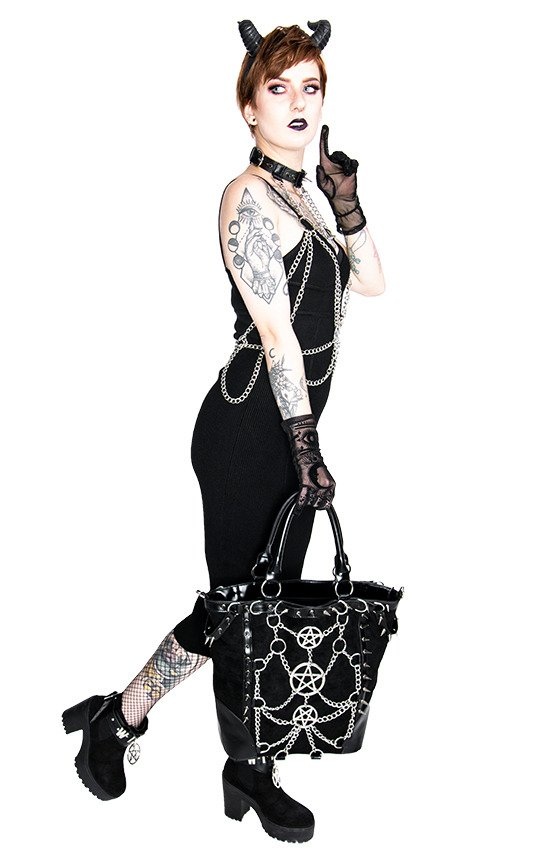 CHAINED PENTAGRAM HARNESS belt, gothic accessory