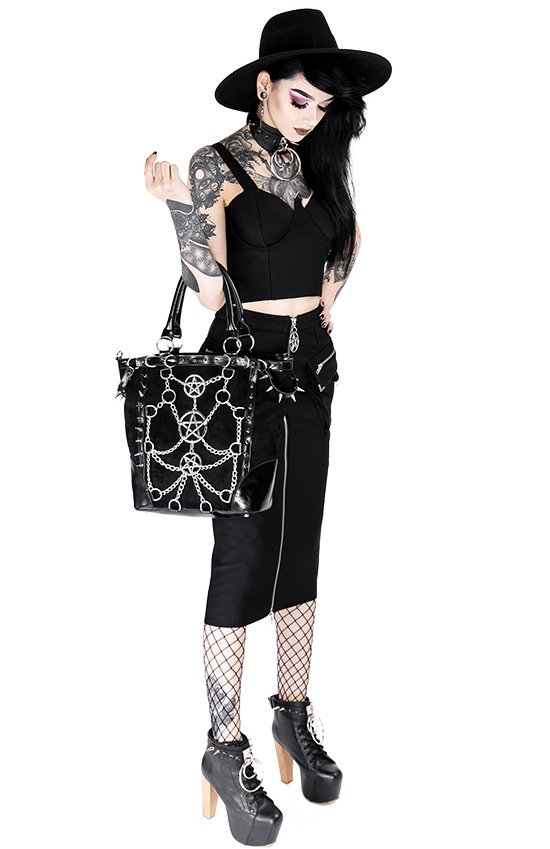 CHAINED PENTAGRAM TOTE BAG Gothic handbag with harness and spikes