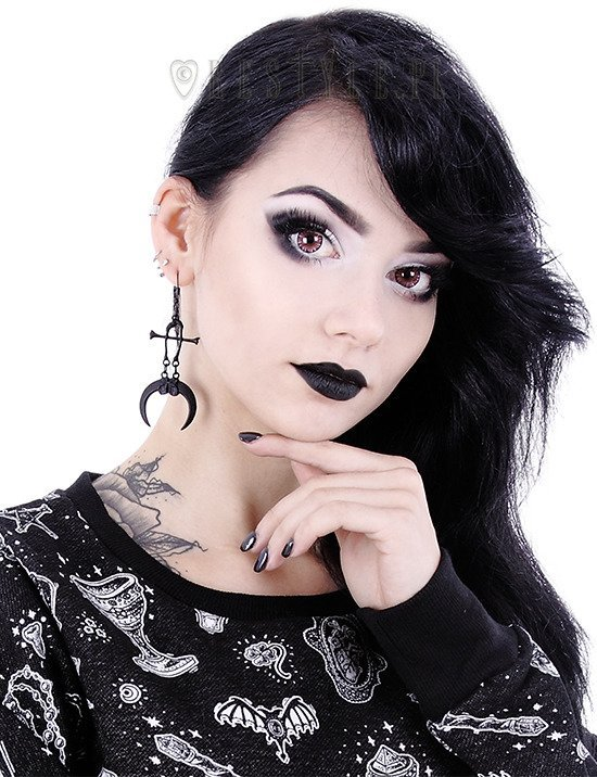 """CLAWS & BONES BLACK EARRINGS"" tibia bones, moon, Occult jewellery"