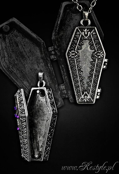 "Locket pendant, compartment, funeral necklace ""COFFIN CHEST"""