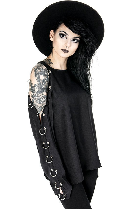 COLD SHOULDER PIERCED BLOUSE oversized shirt, gothic