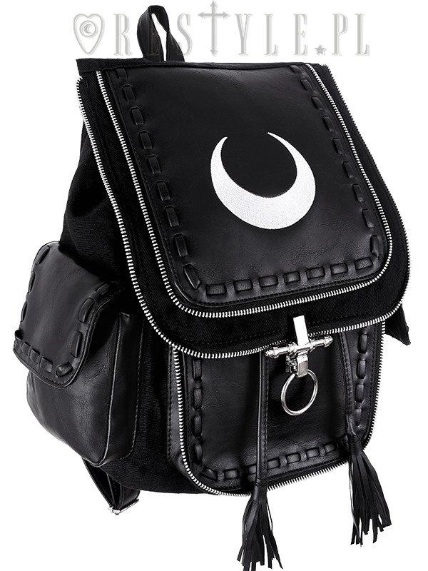 Black school bag, with pockets, 90s backpack moon bag