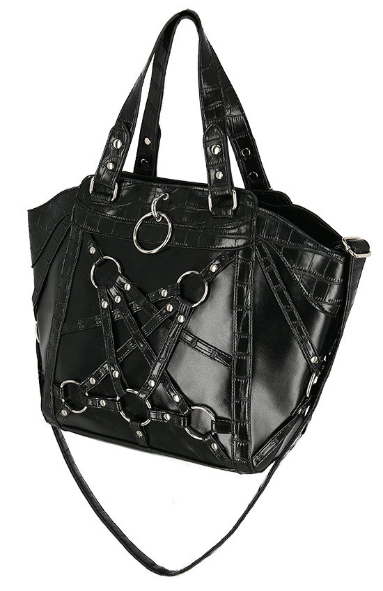 CROCODILE TEARS SHOPPER BAG Gothic vegan harness handbag
