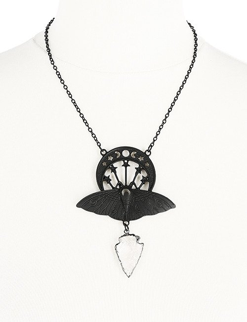 CRYSTAL MOON MOTH BLACK NECKLACE