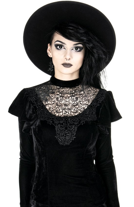 CURSED BLOUSE, Black dotted lace