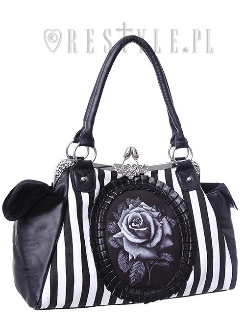 "Black and White Stripes, gothic handbag ""BLACK ROSE"""