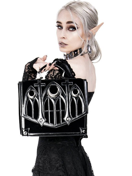Cathedral Suitcase Black gothic bag with crescents