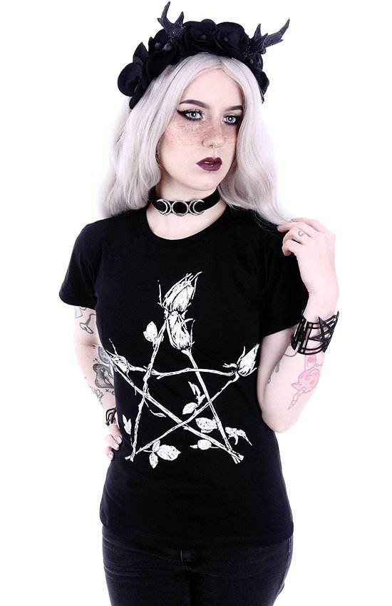 "Classic Gothic, witchy T-shirt ""ROSE PENTAGRAM"""