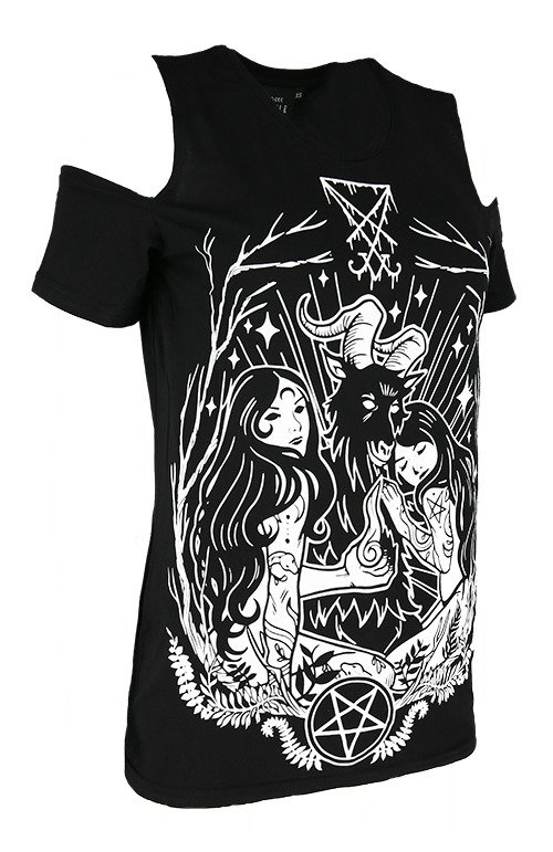 Cold shoulder LUCIFER T-shirt Occult blouse