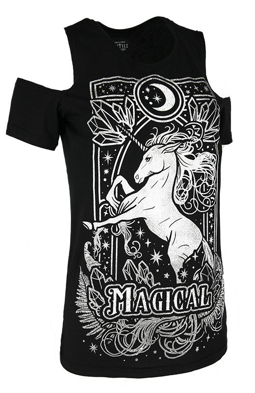 Cold shoulder T-shirt MAGICAL UNICORN GRAY