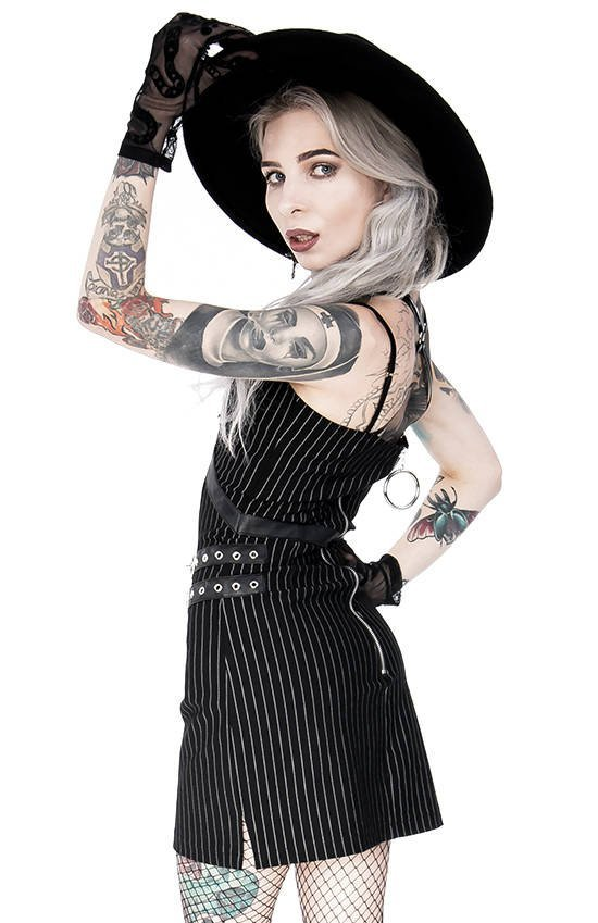 Collared Pinstriped Mini Gothic Dress