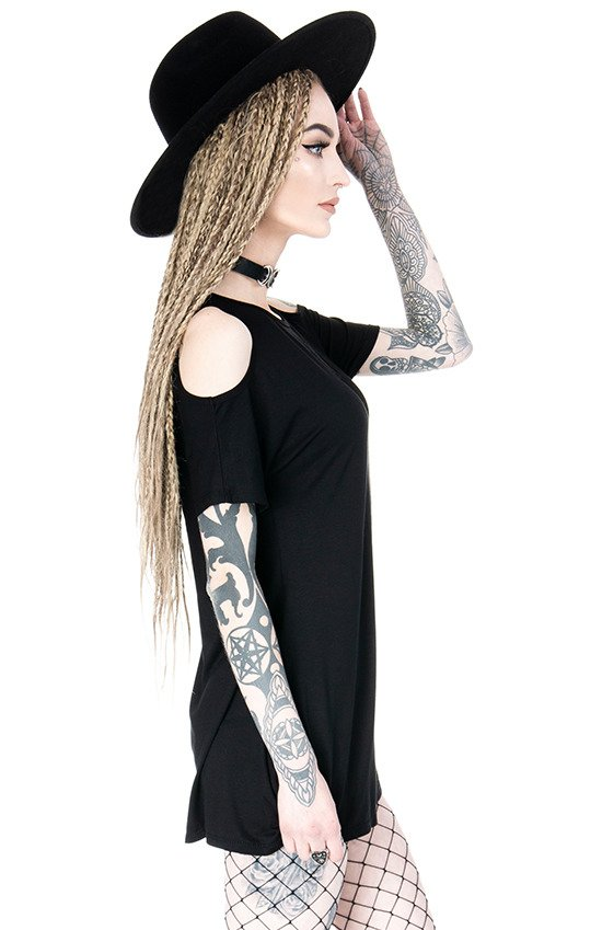 Crescent Dress oversized with cold shoulder, Mesh Moon Tunic, gothic tunic