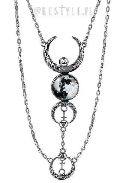"Crescent long pendant, occult jewellery, luna ""FULL MOON NECKLACE"""