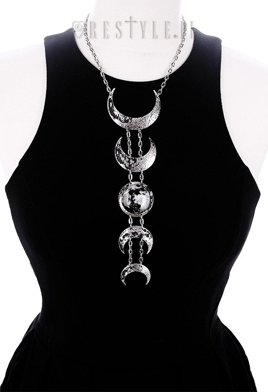 "Crescent long pendant, occult jewellery, luna ""LUNAR SILVER NECKLACE"""