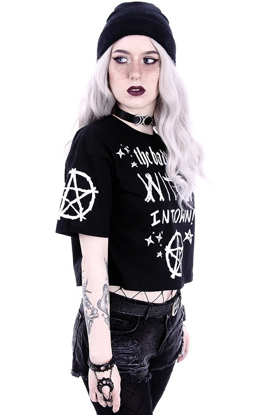 "Crop Top Gothic blouse  ""THE BADDEST WITCH IN TOWN"""