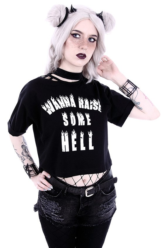 "Crop Top  Gothic blouse with burning letters ""WANNA RAISE SOME HELL"""